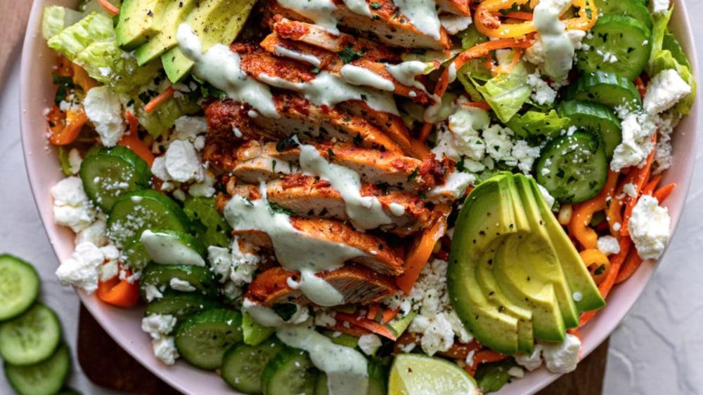 Image ofHarissa Chicken Salad With Lime Yogurt Dressing