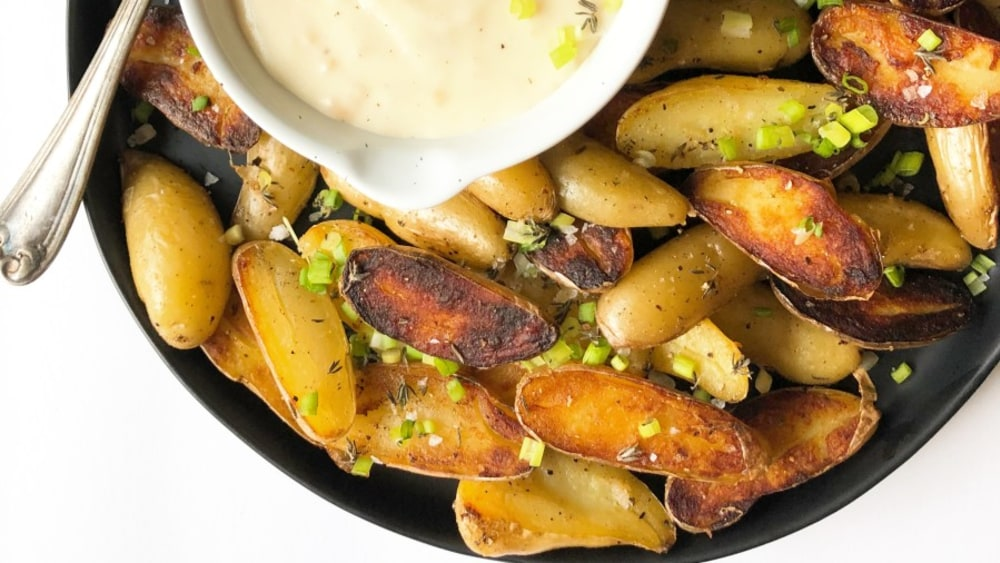 Image ofCrispy Fingerling Potatoes with Unexpected Cheddar Dipping Sauce