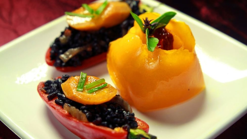 Image of Squid Ink Risotto Stuffed Baby Peppers