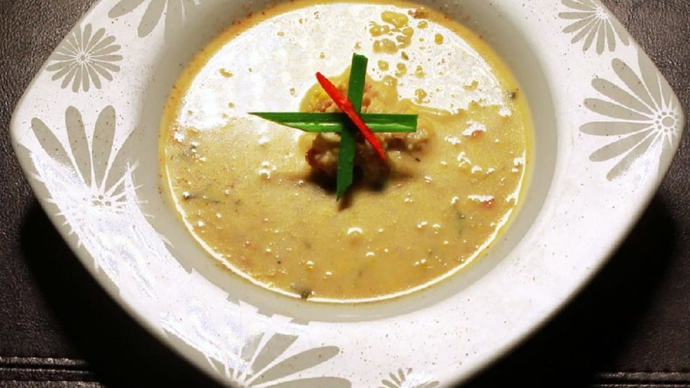 Image of Lobster Roasted Corn Chowder with Truffle Oil and Crispy Pancetta