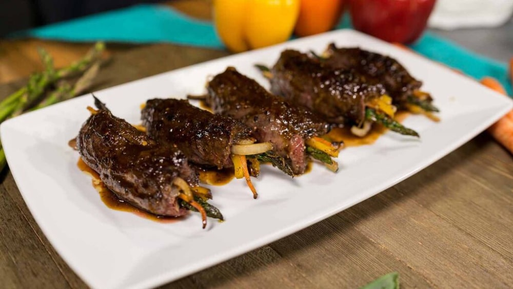 Image of Filet Steak Roll-Ups with Paleo Dipping Sauce