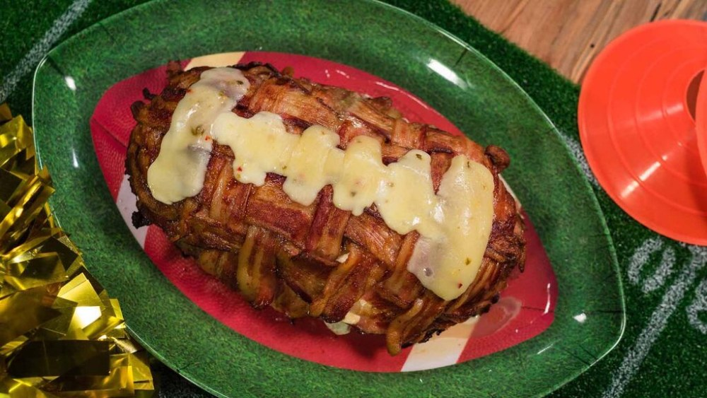 Image of Bacon Wrapped Meatloaf Football