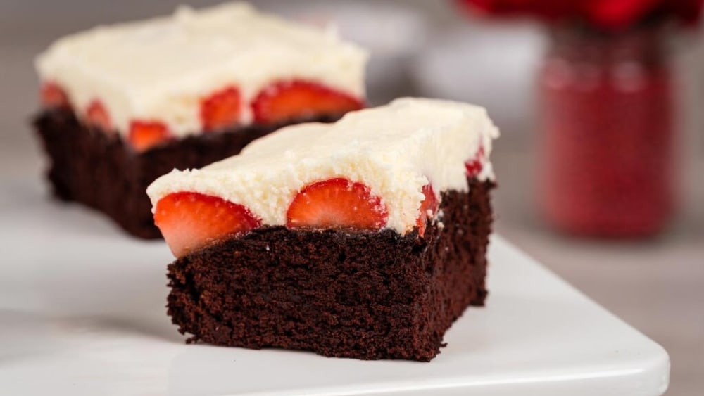 Image of White Chocolate Covered Strawberry Brownies