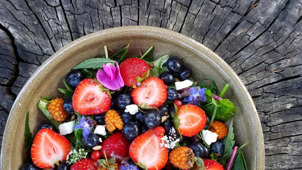 Image of Summer Greens & Berries Salad with Wild Huckleberry Vinaigrette