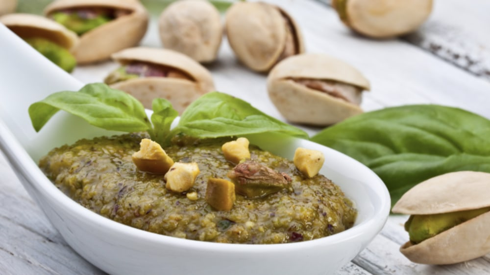 Image of Creamy Pistachio and Basil Pesto Sauce