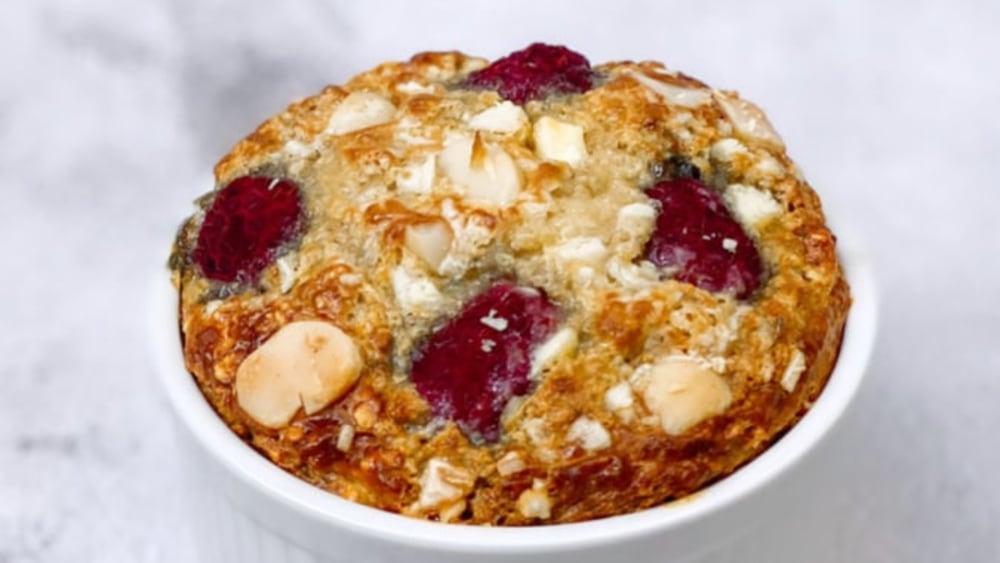 Image ofRaspberry, Macadamia, & White Chocolate Baked Oats