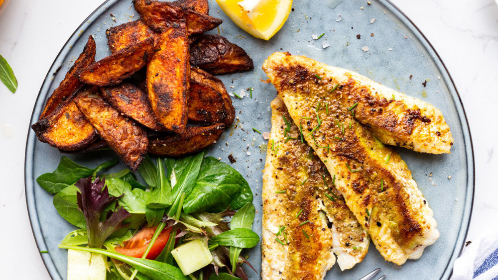 Image of Golden Cumin Fish with Paprika Spiced Wedges