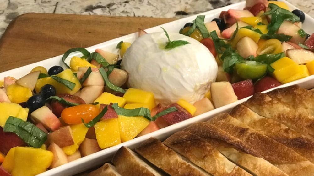 Image of Stone Fruit and Tomato with Burrata Salad