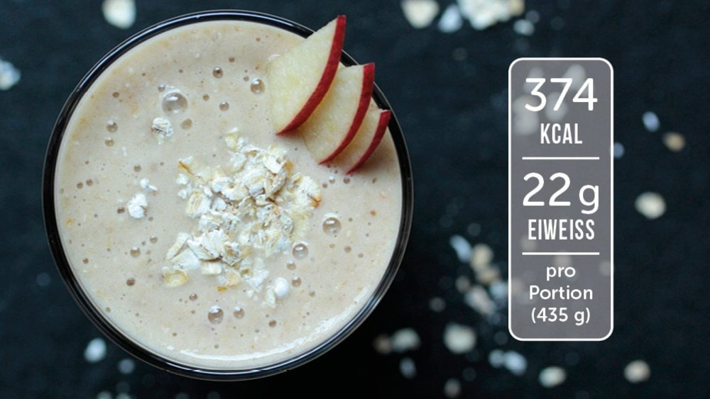 Image of Eiweiß-Shake mit Apfel und Haferflocken