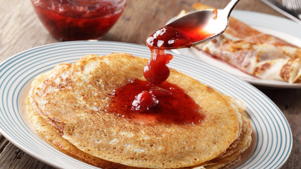 Image of Vegan Pancakes with Strawberry Compote