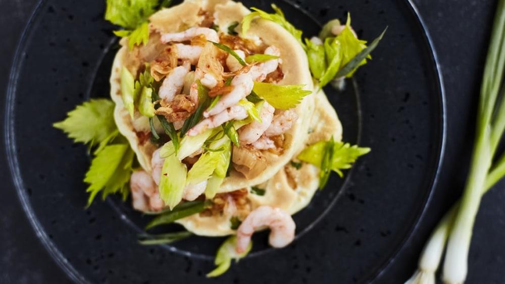 Image ofPancake kimchi et crevettes de Matane