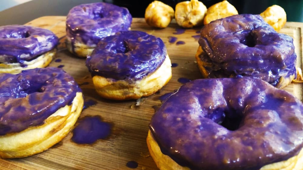 Image of Air Fryer Donuts with Ube Cookie Butter Glaze