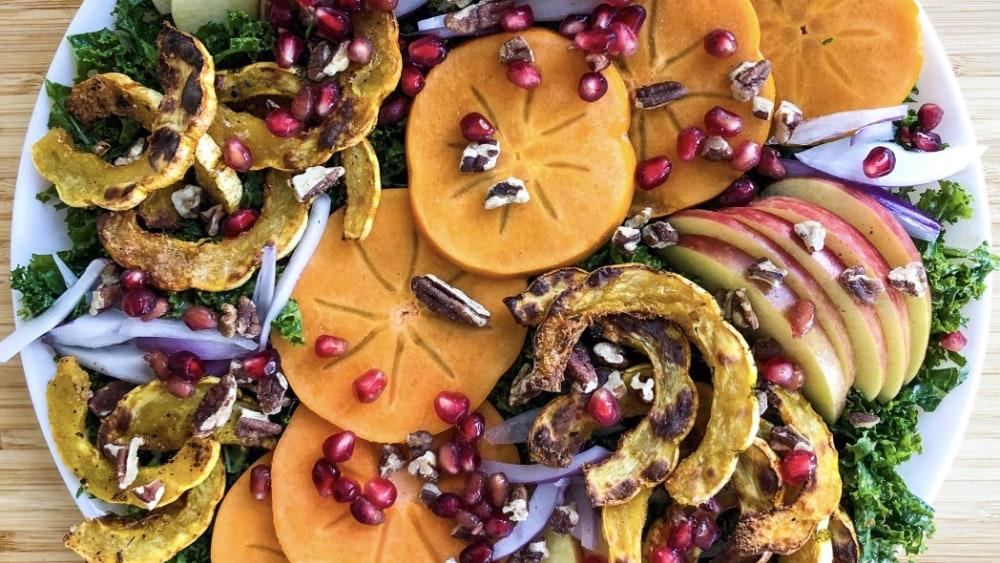 Image ofKale Salad with Roasted Delicata Squash & Fall Fruits