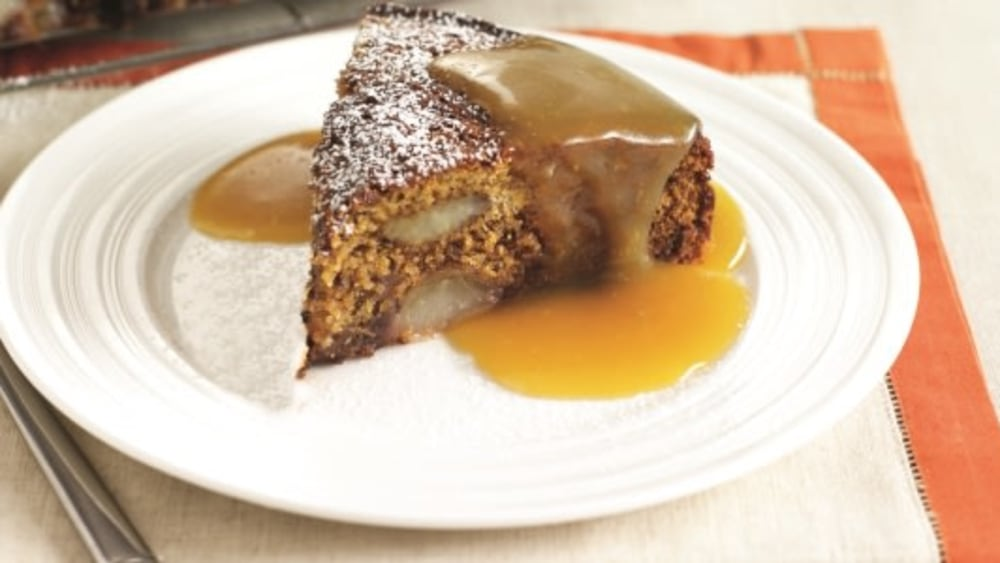 Image of Ginger & Pear Cake with Toffee Sauce