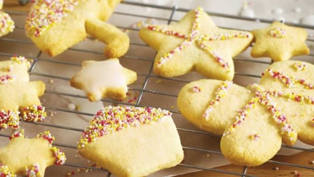 Image of Golden Cookies with Rainbow Sprinkles