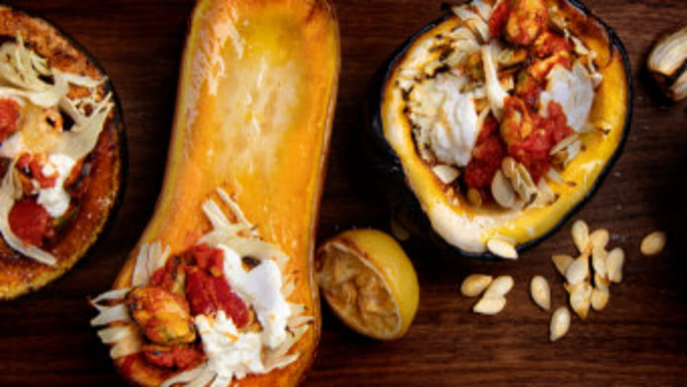 Image of Squash Stuffed With Mussels, Fennel And Ricotta