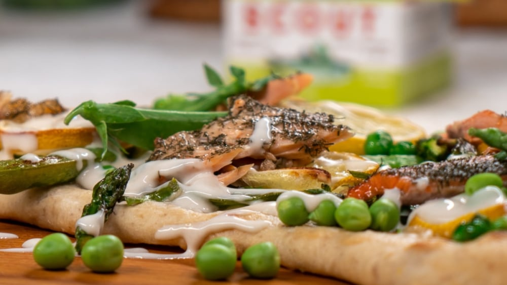 Image of Trout Flatbread With Asparagus, Peas & Lemon