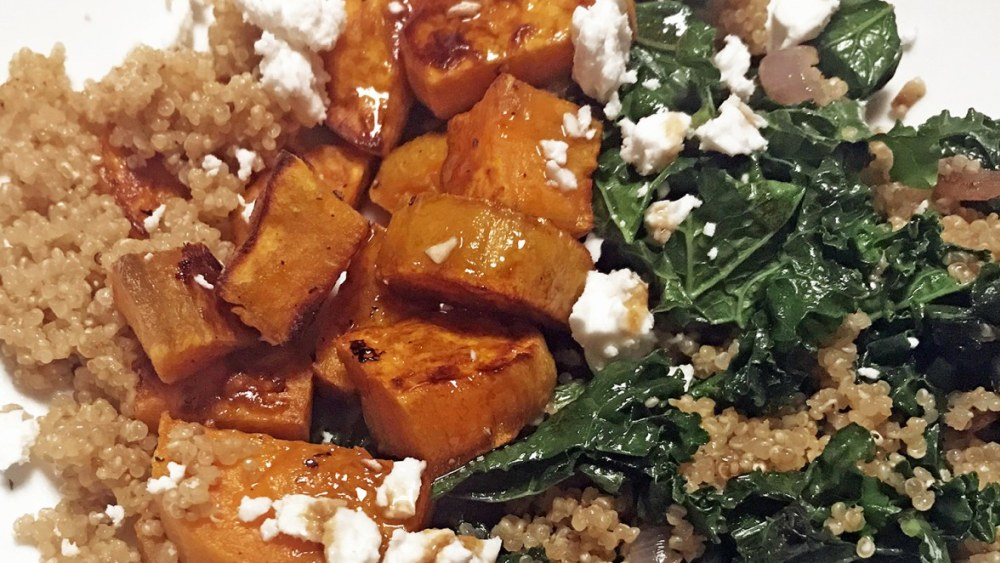 Image ofRoasted Sweet Potatoes with Kale and Quinoa