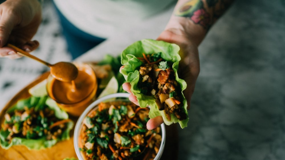 Image of Bone Broth Pork Lettuce Wraps w/ Almond Butter Sauce