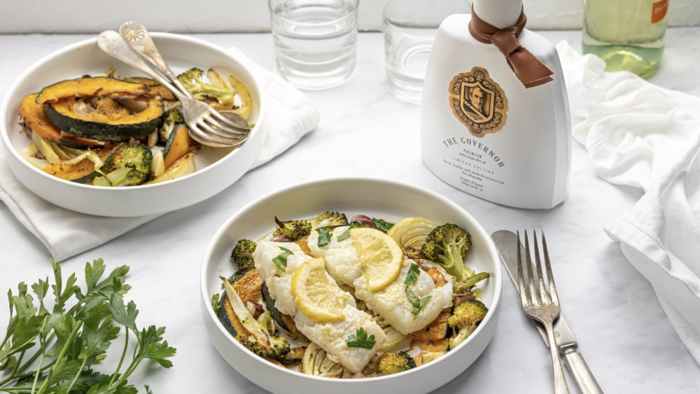 Image of Pan roasted cod with winter veggies