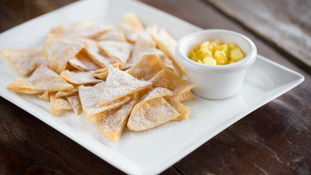 Image of Cinnamon Sugar Tortilla Chips Smothered in Melted Butter!