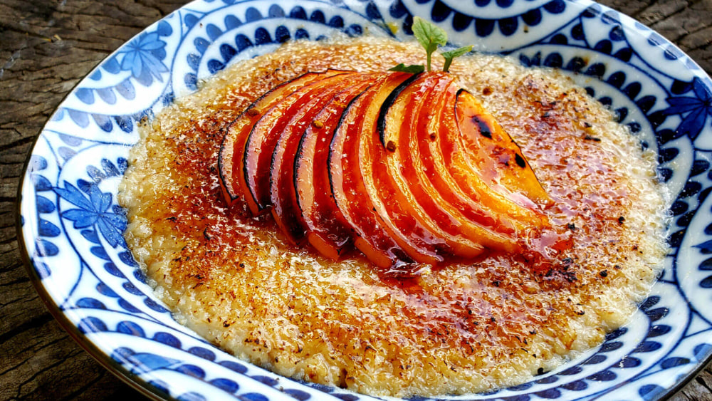 Image of Red Haven Peach Oatmeal Brûlée
