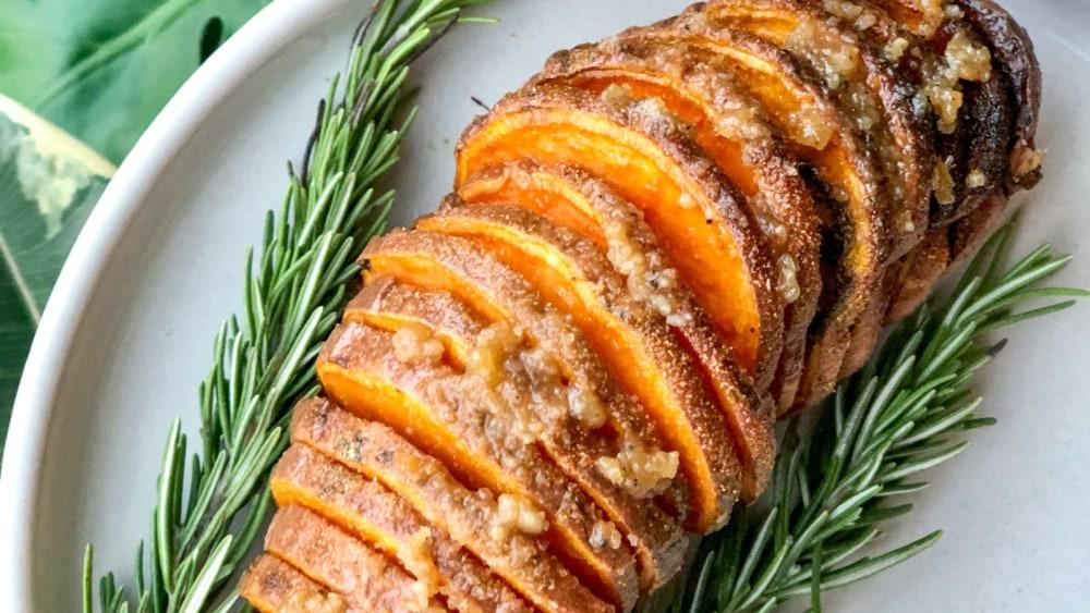 Image of Hassleback Truffle Pesto Sweet Potato