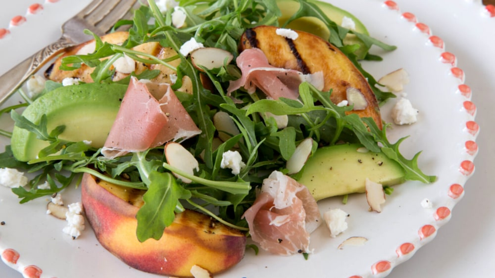 Image of Grilled Peach And Arugula Salad