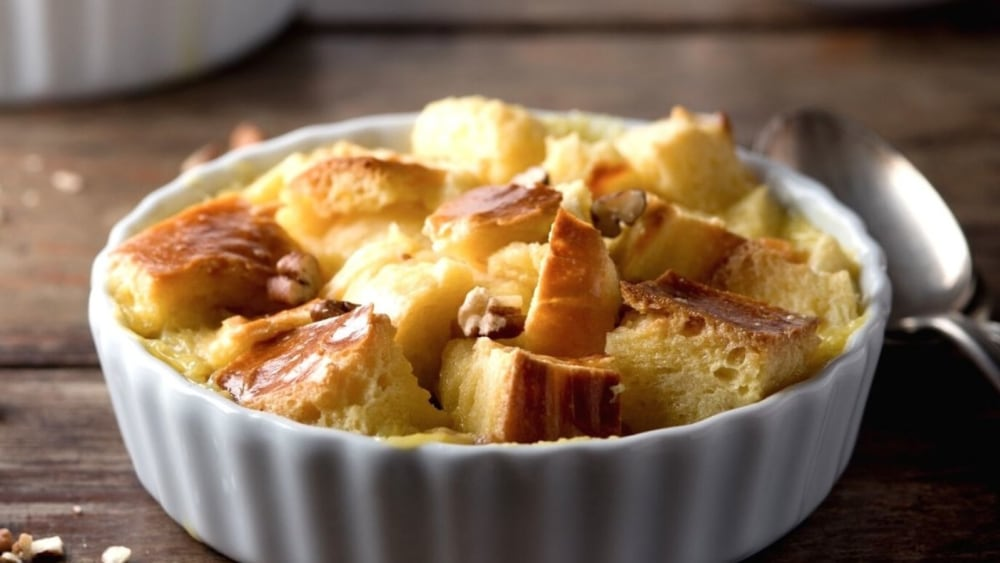 Image of Sweet Date and Almond Bread Pudding with Amaretto Zabaglione