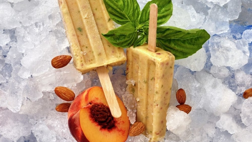 Image of Peach Basil Popsicles