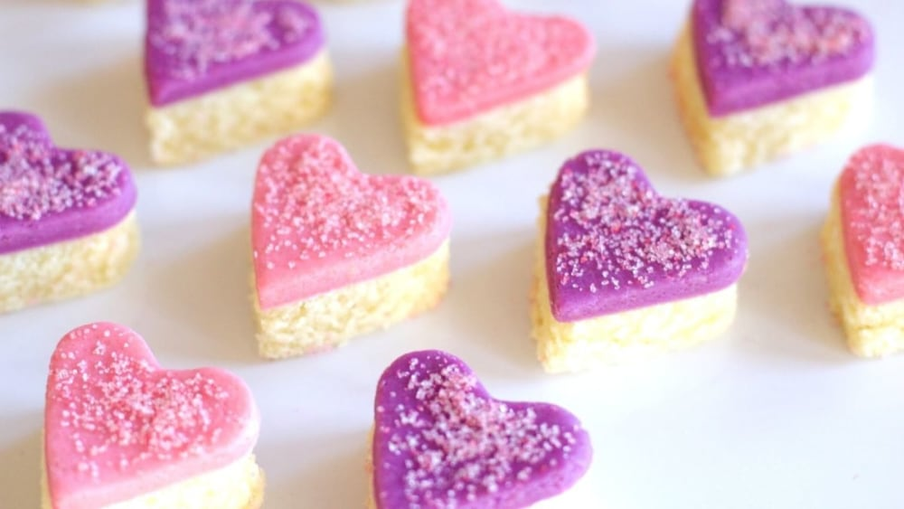 Image of Heart-Shaped Marzipan Cut-Out Cakes