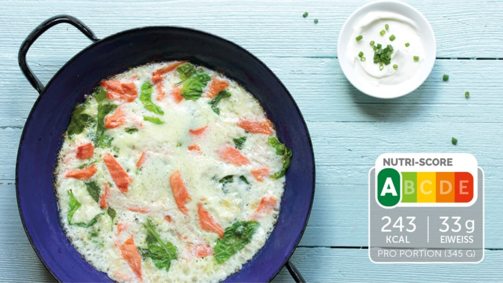 Image of Low Carb Omelette mit Lachs und Spinat