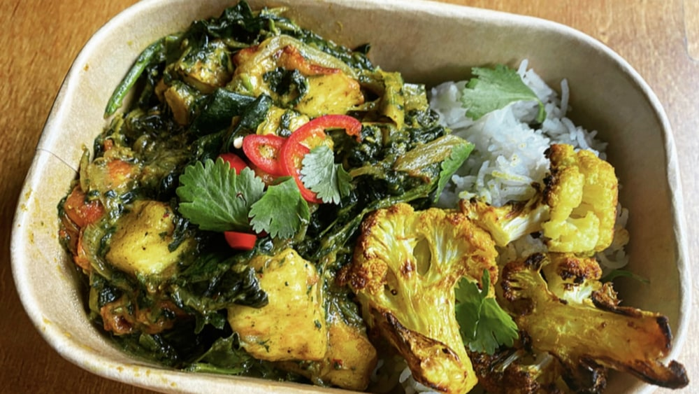 Image of Deliciously Vegetarian, Saag Halloumi