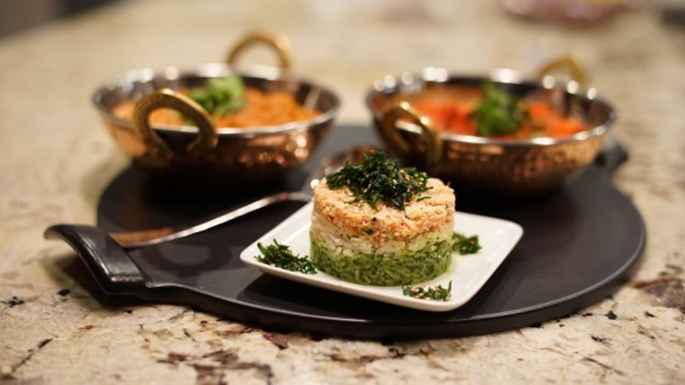 Image of Tri Color Rice with Crispy Spinach