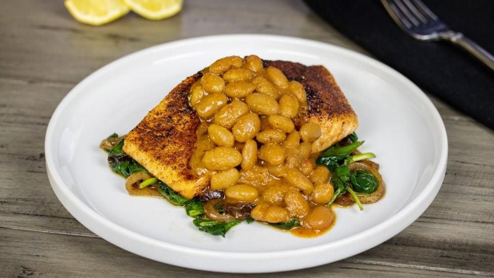 Image of Mustard Q Bean Blackened Salmon