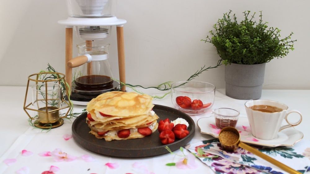 Image of Hot Chocolate Coffee with Fruity Crepes