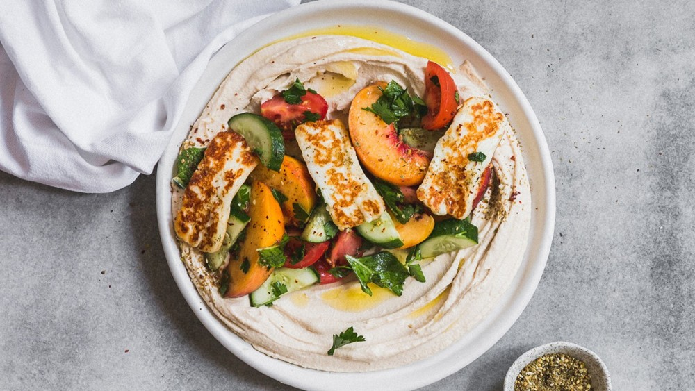 Image ofPeach and Tomato Salad with Hummus and Za'atar