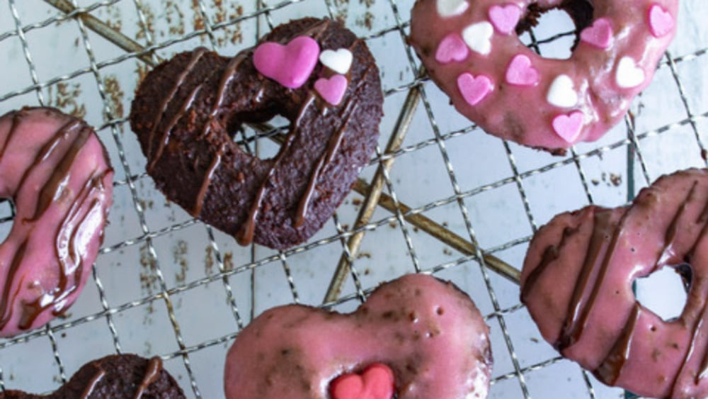 Image ofChoc Protein Donuts with Strawberry and Cream Frosting