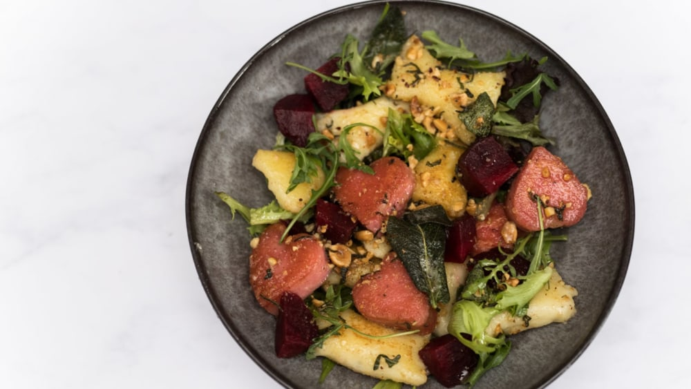 Image of Gluten-Free Potato and Beetroot Gnocchi with Sage and Hazelnut Butter
