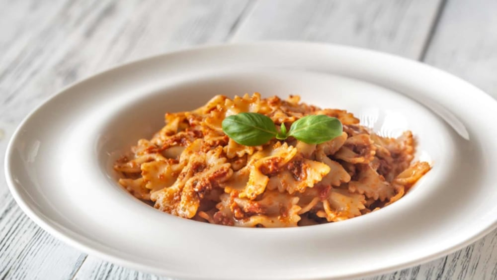Image of Sicilian-Inspired Farfalle with Red Pesto