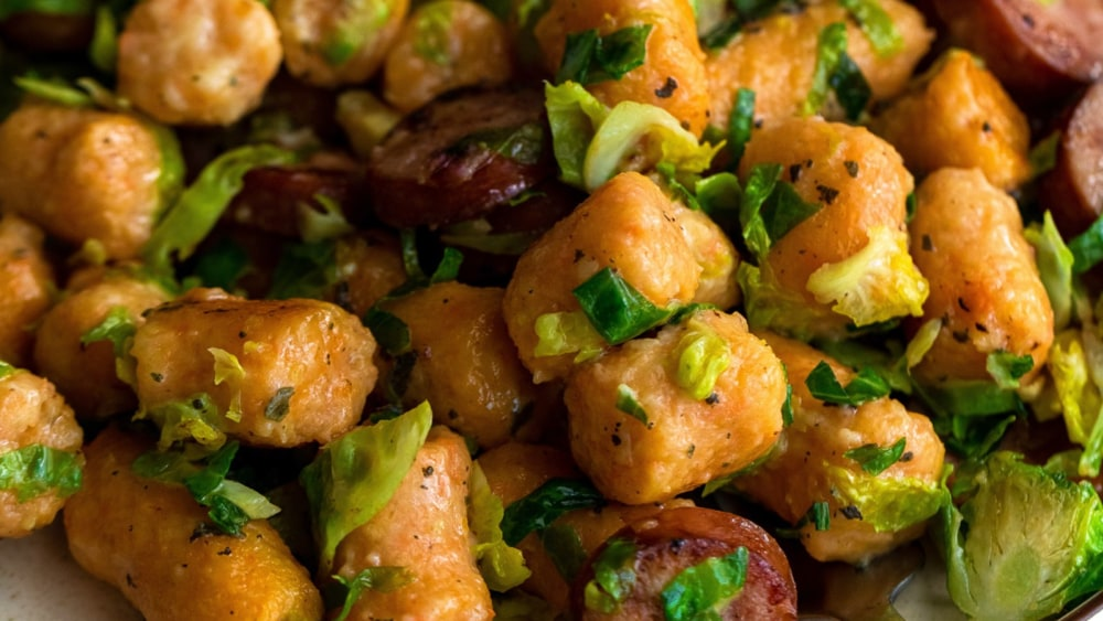 Image ofSweet Potato Gnocchi with Shaved Brussels & Chicken Sausage