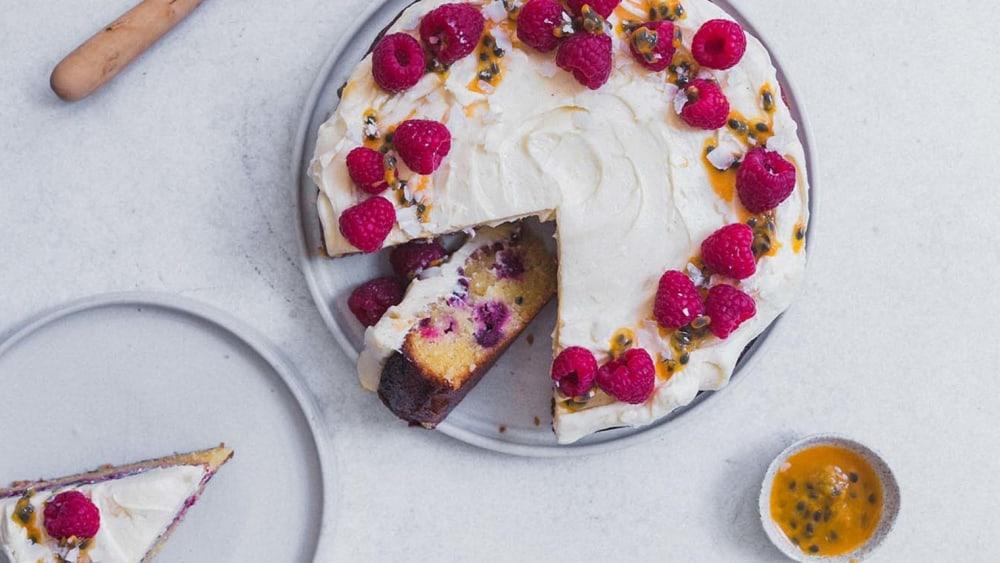 Image ofPassionfruit, Raspberry & Coconut Cake