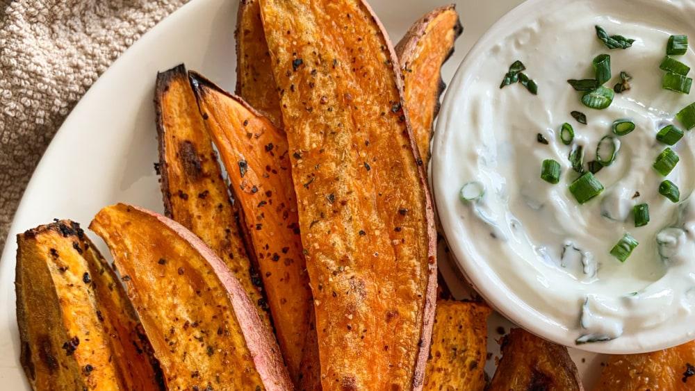 Image of Citrusy Garlic Sweet Potato Wedges with Garlic & Herb Yogurt Dip