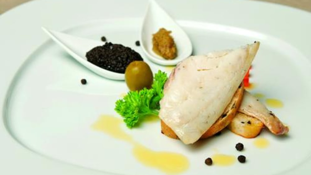 Image of FISH FILET IN GREEN OLIVES & ROSEMARY SAUCE