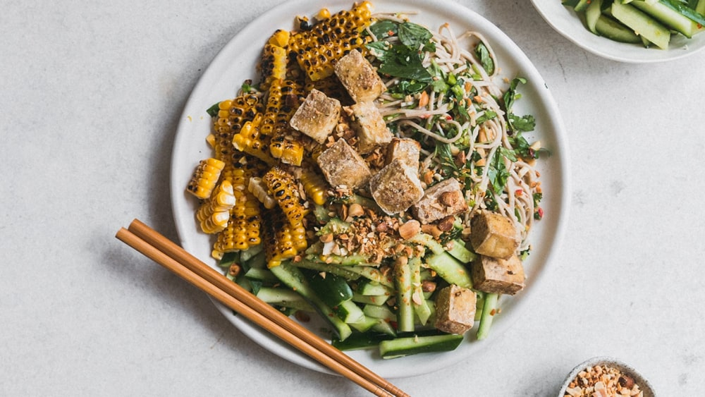 Image ofSourced & Seasoned: Grilled Corn, Cucumber & Peanut Soba Salad