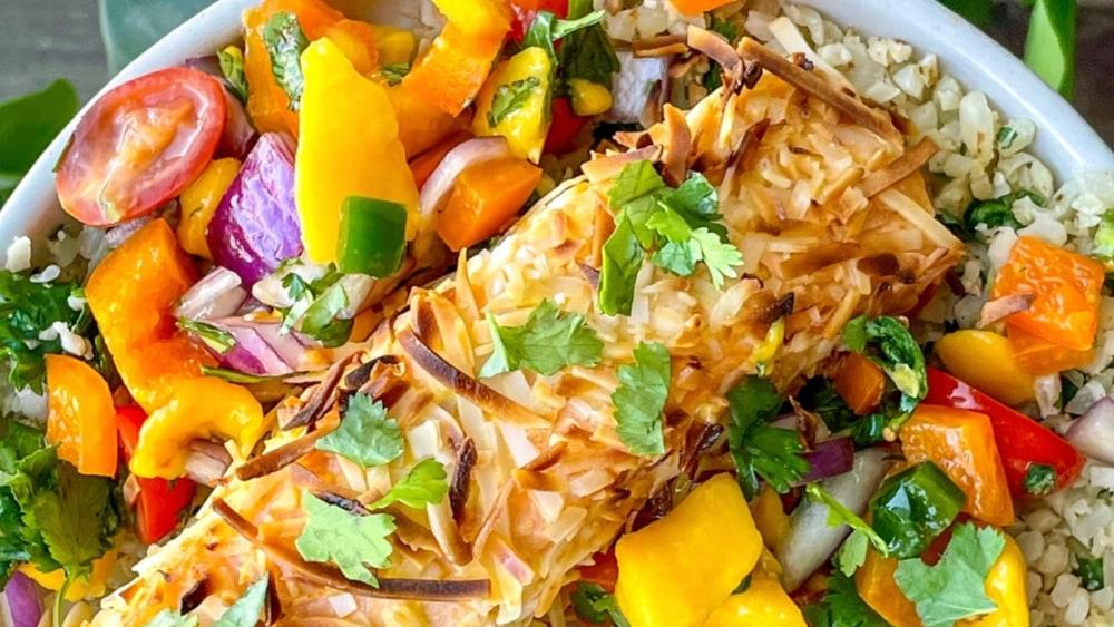 Image of Coconut Salmon with Mango Salsa