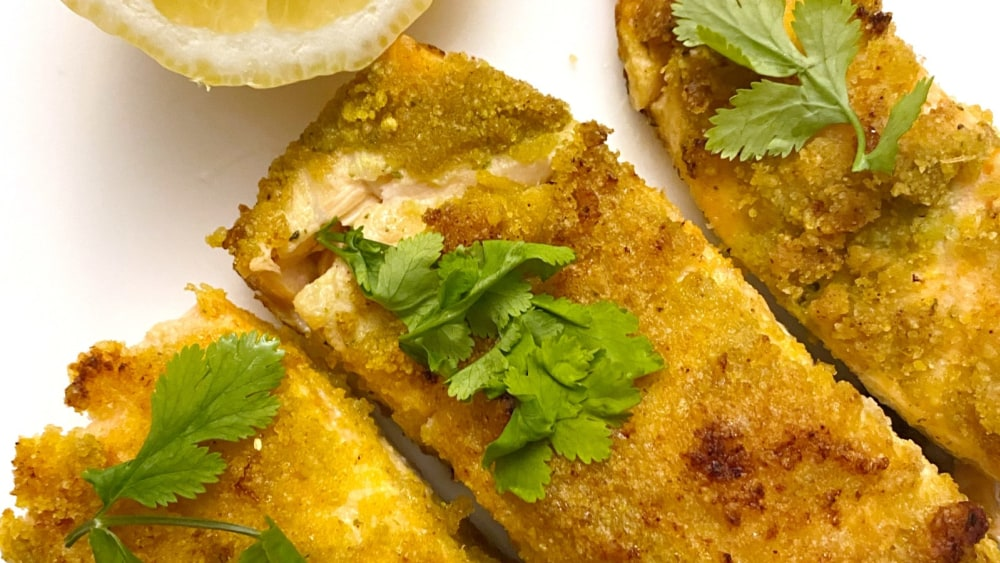 Image ofPlantain Croutons Dusted Salmon with Cilantro