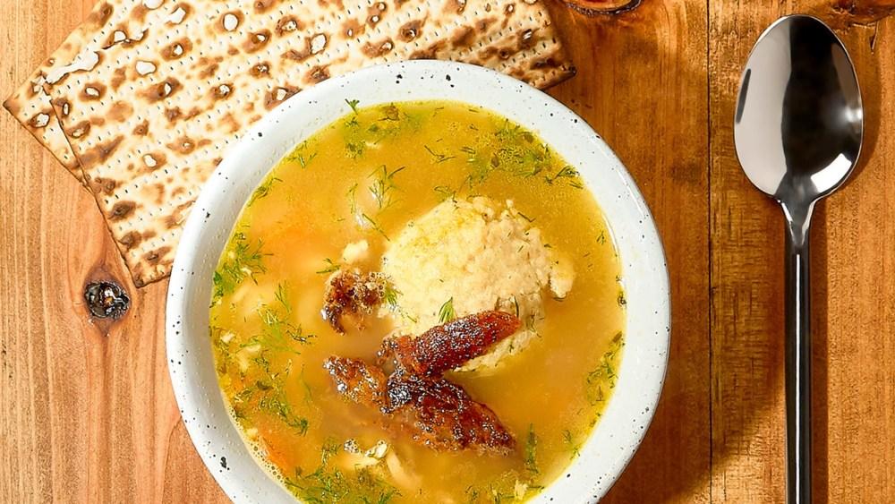 Image of Garden Delish Matzo-Ball Soup with Crispy Chicken Bits