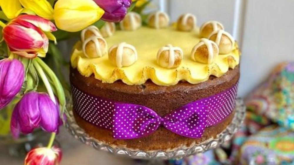 Image of Hot cross bun Simnel cake