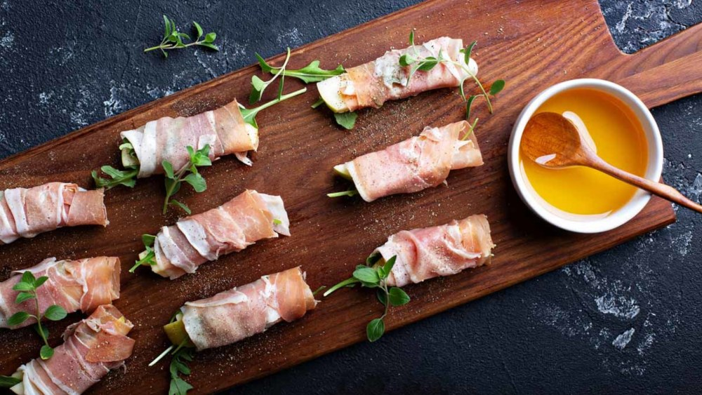 Image of Apple, Swiss & Prosciutto Rollups with Nature Nate's Raw & Unfiltered Honey